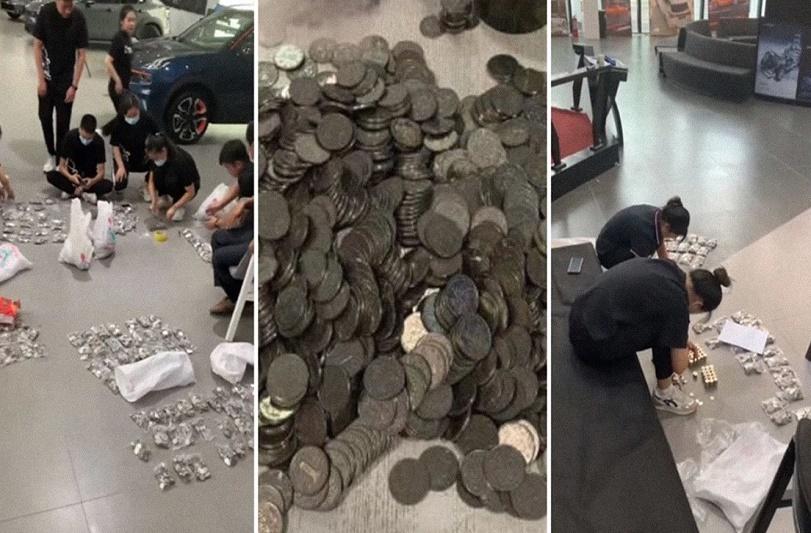 ¡Increíble! Hombre compra carro de 7.800 dólares ¡y lo paga en monedas! - FOTO